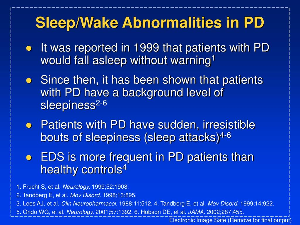 Sleep/Wake Abnormalities in PD
