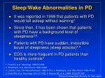 sleep wake abnormalities in pd