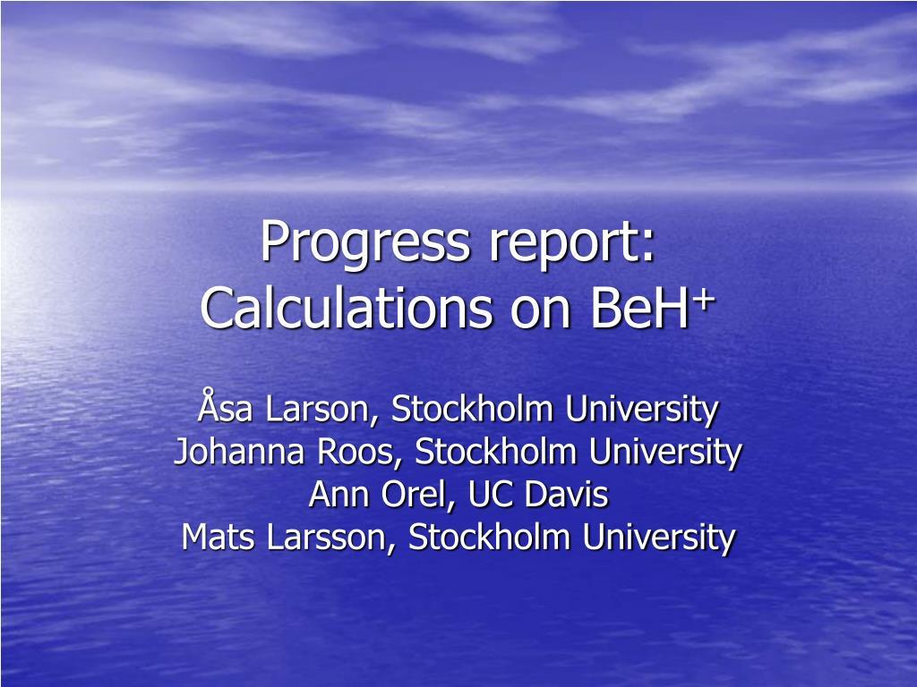 progress report calculations on beh l.