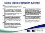 mental maths progression overview