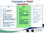 progression in mental calculations
