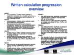 written calculation progression overview