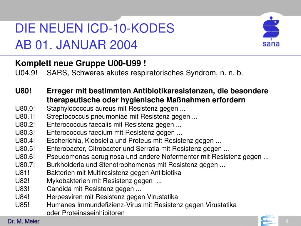 die neuen icd 10 kodes ab 01 januar 2004 l.