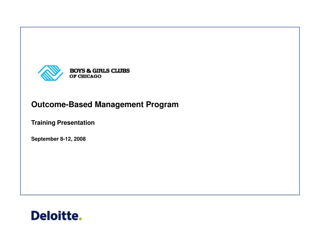 outcome based management program l.