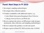 panel next steps in fy 2010