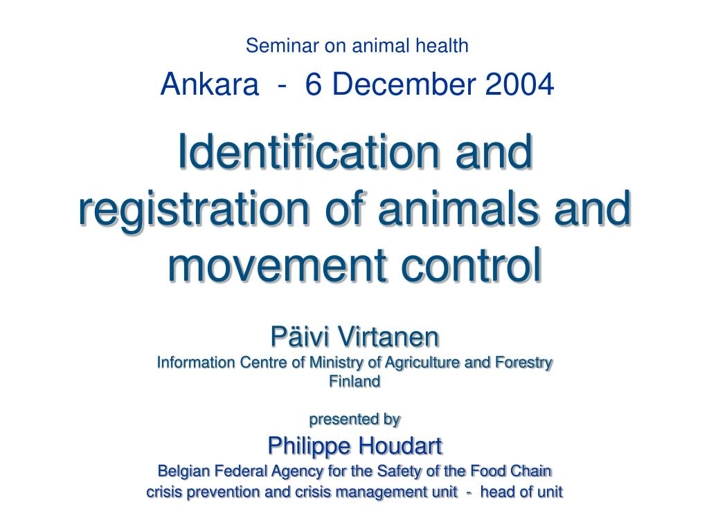 identification and registration of animals and movement control l.