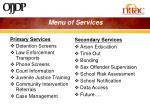 menu of services