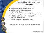 best evidence training using simulation