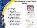 instructional tools nurses learner manual