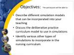 objectives the participant will be able to