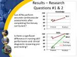 results research questions 1 2