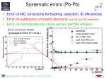 systematic errors pb pb