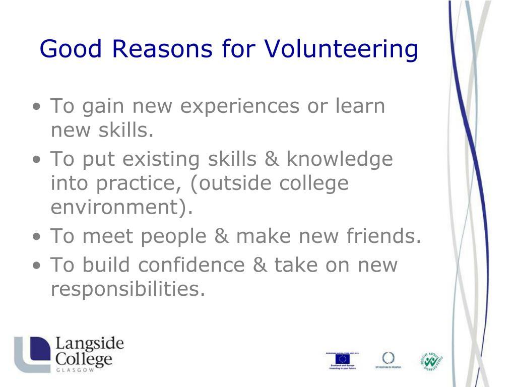 Good Reasons for Volunteering