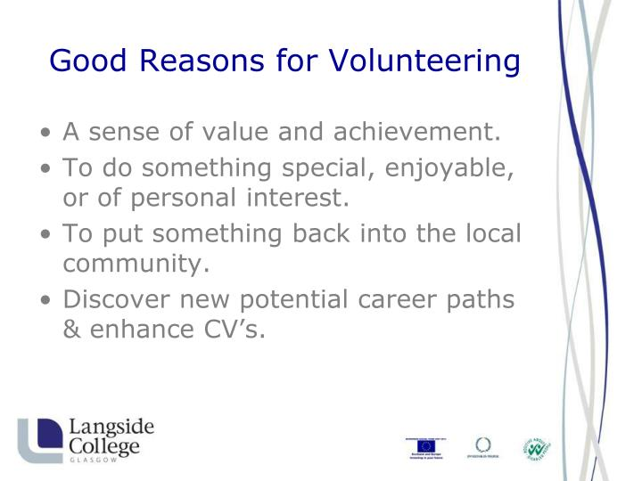 Good reasons for volunteering3