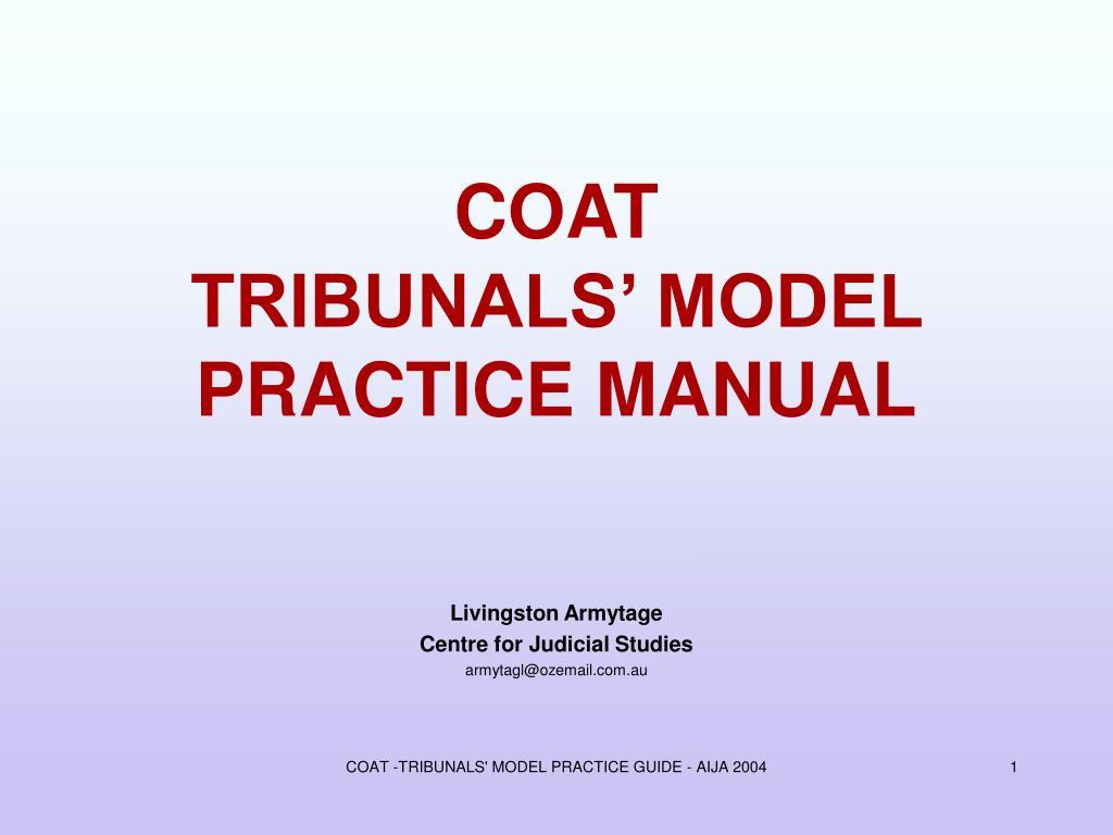 coat tribunals model practice manual l.