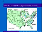 location of operating nuclear reactors