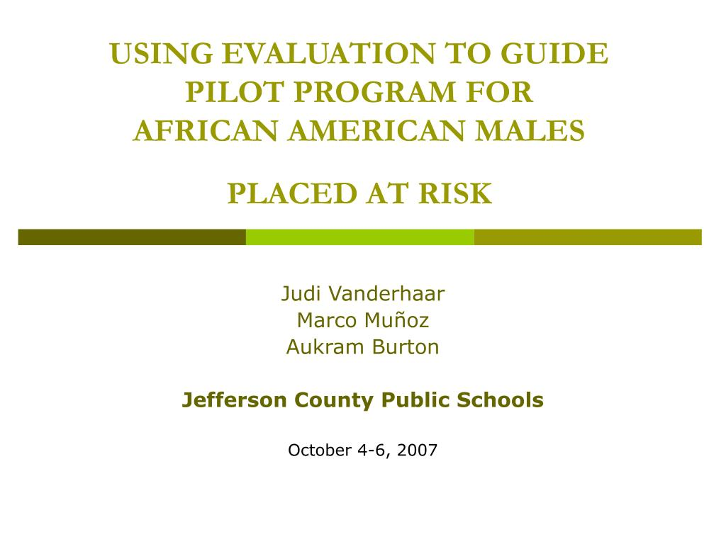 using evaluation to guide pilot program for african american males placed at risk l.