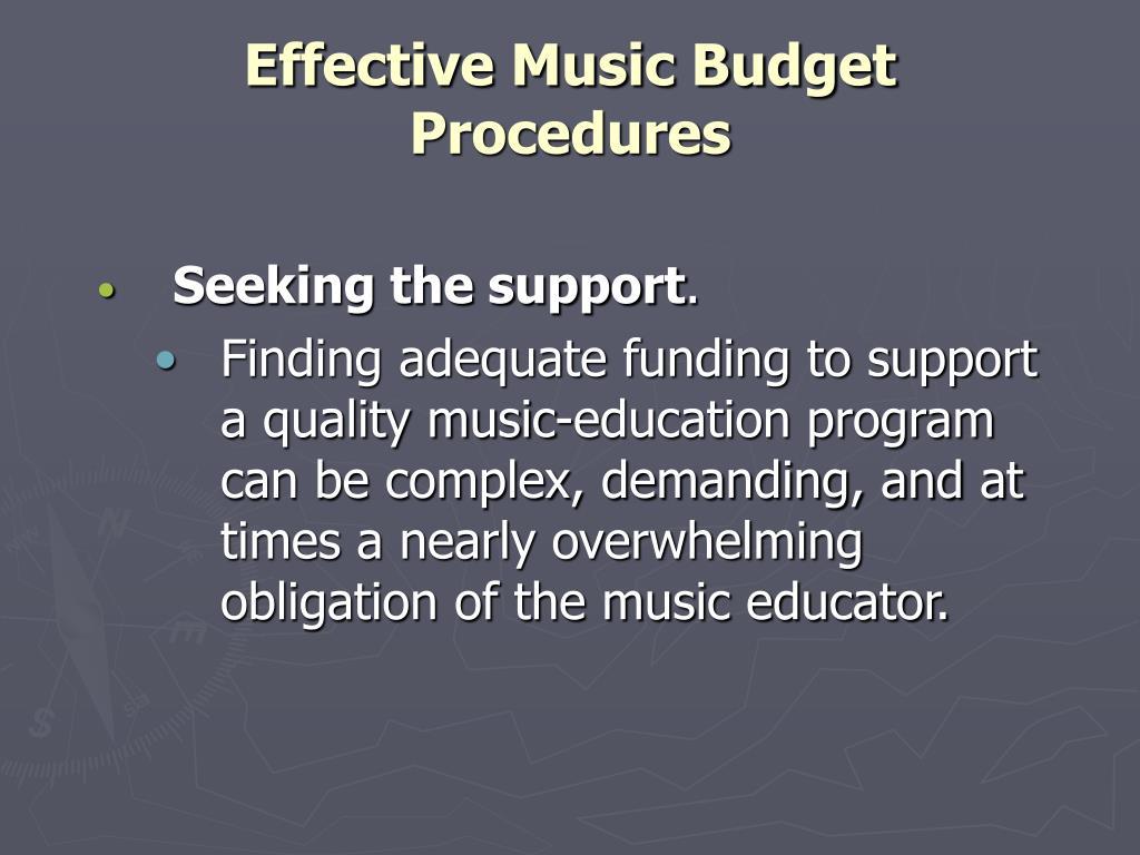 effective music budget procedures l.