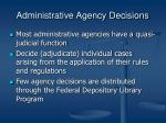 administrative agency decisions