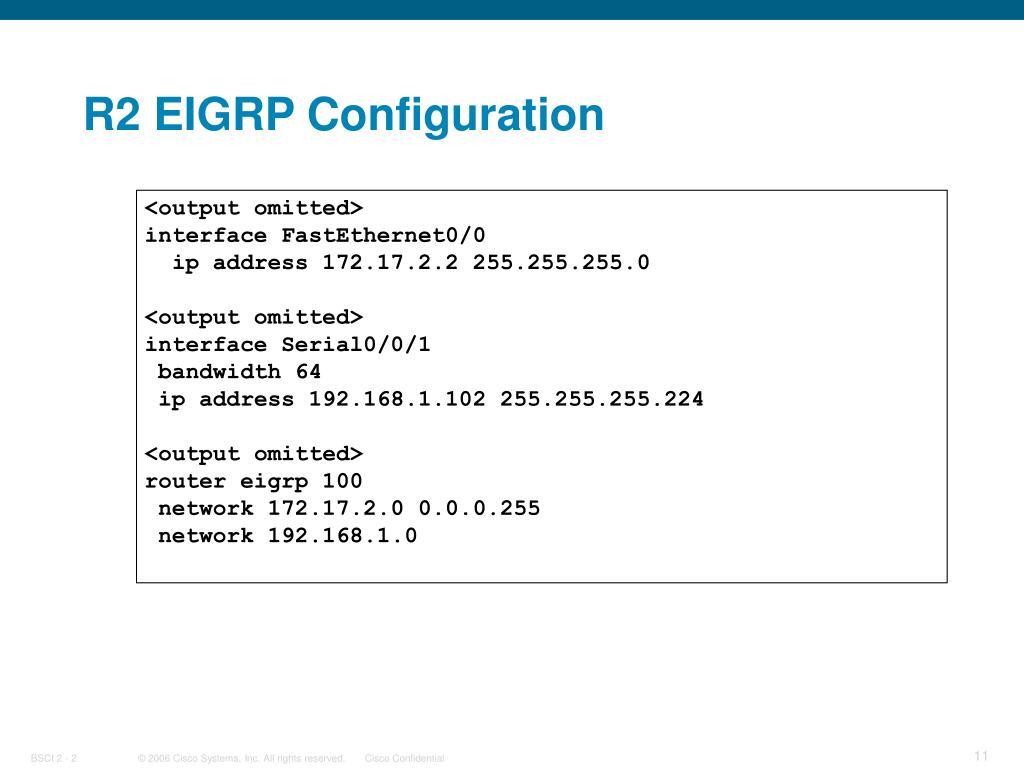 R2 EIGRP Configuration