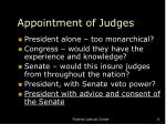 appointment of judges