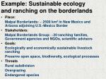 example sustainable ecology and ranching on the borderlands
