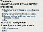 the model ecology dictated by four primary processes