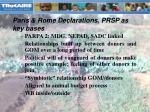 paris rome declarations prsp as key bases