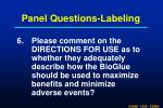panel questions labeling