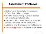 assessment portfolios