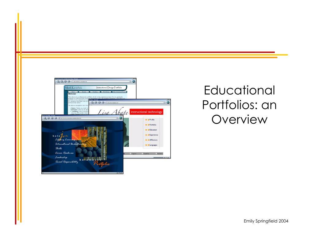 educational portfolios an overview l.