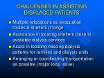 challenges in assisting displaced patients