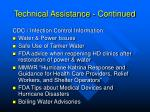 technical assistance continued