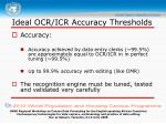 ideal ocr icr accuracy thresholds