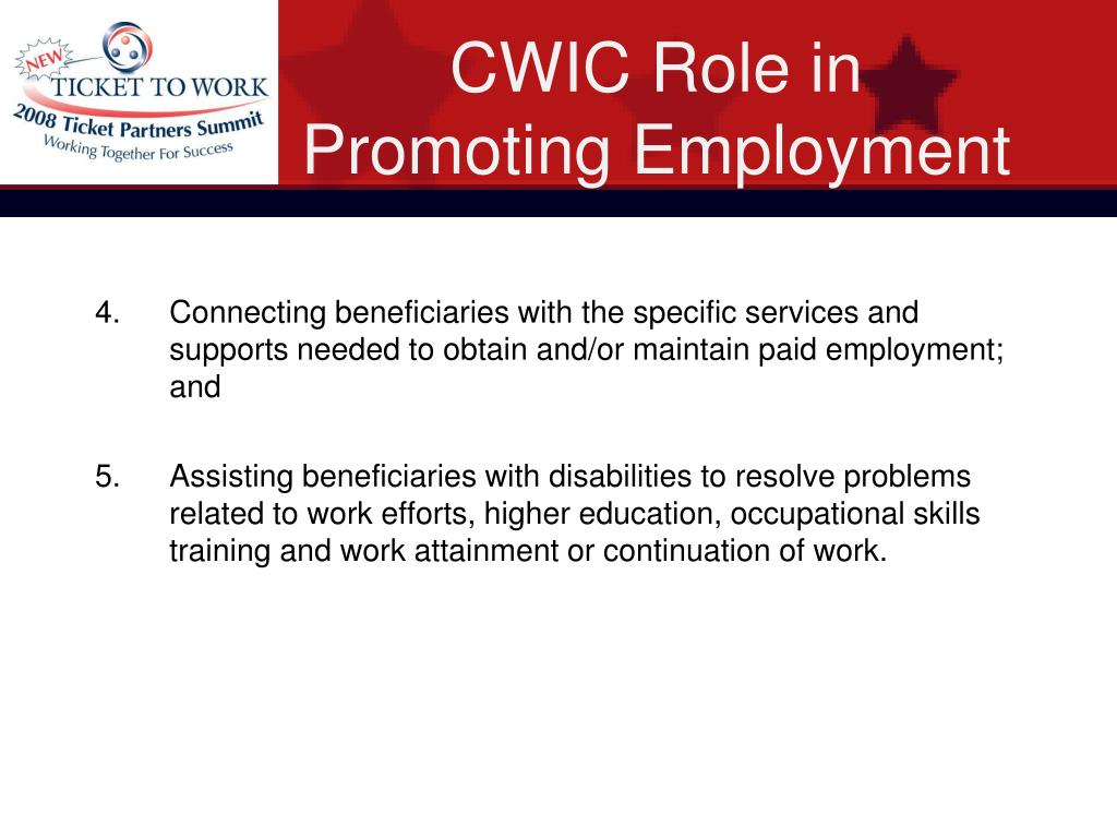 CWIC Role in Promoting Employment