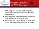 outreach obligations of wipa programs