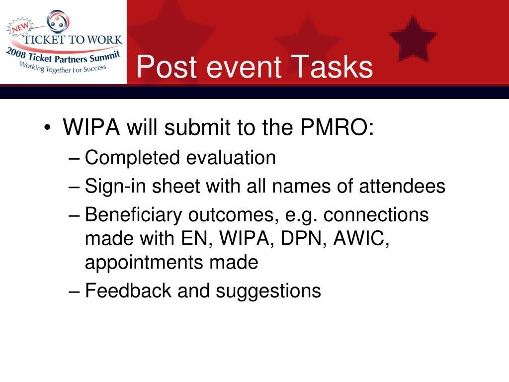 Post event Tasks