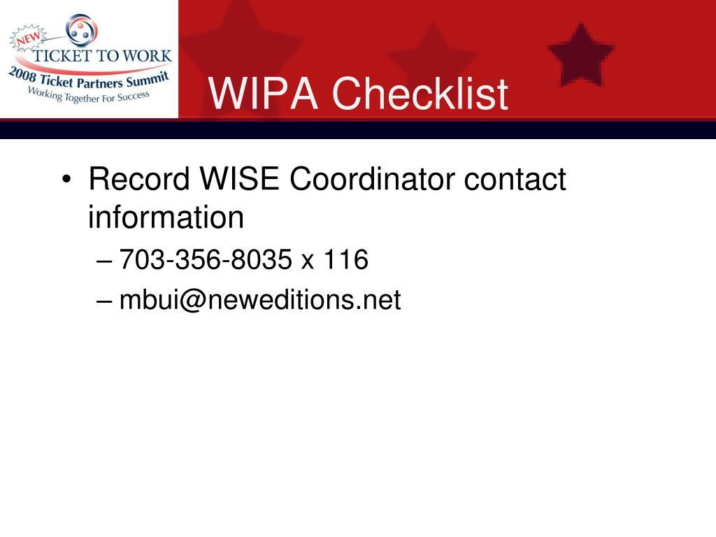 WIPA Checklist