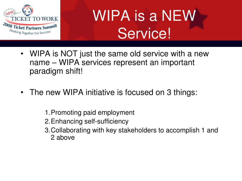 WIPA is a NEW Service!