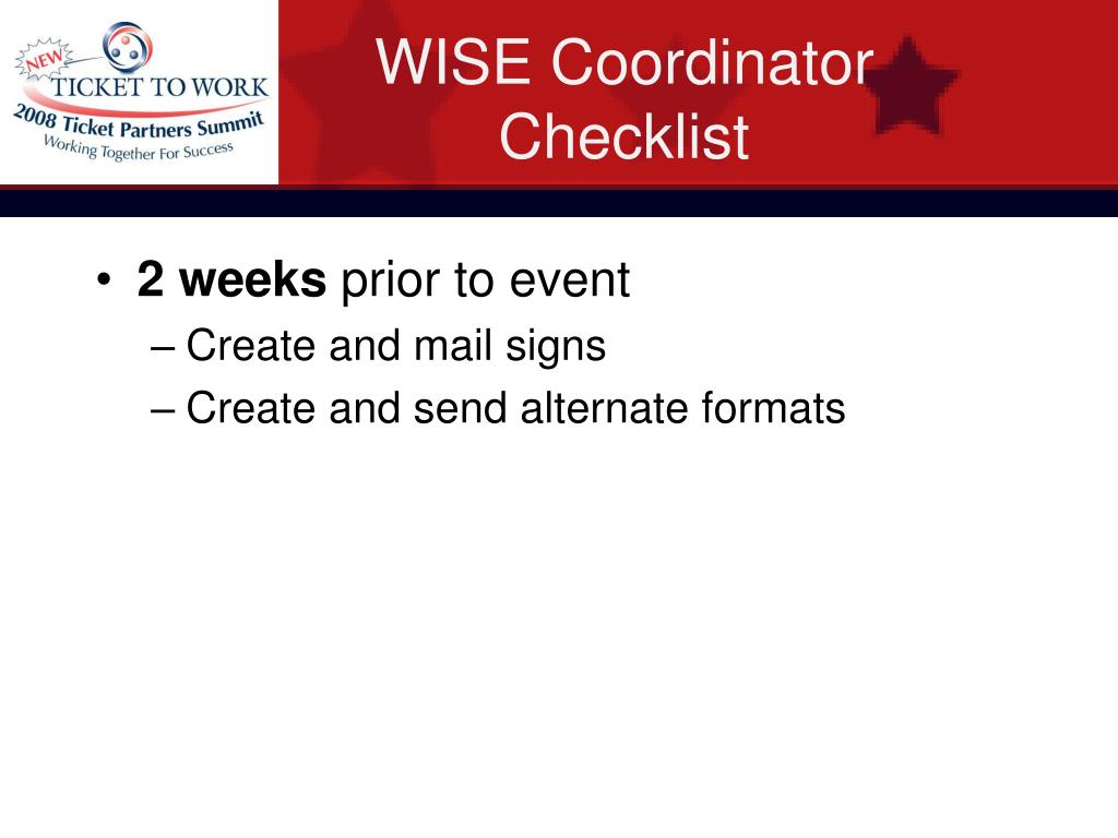 WISE Coordinator Checklist