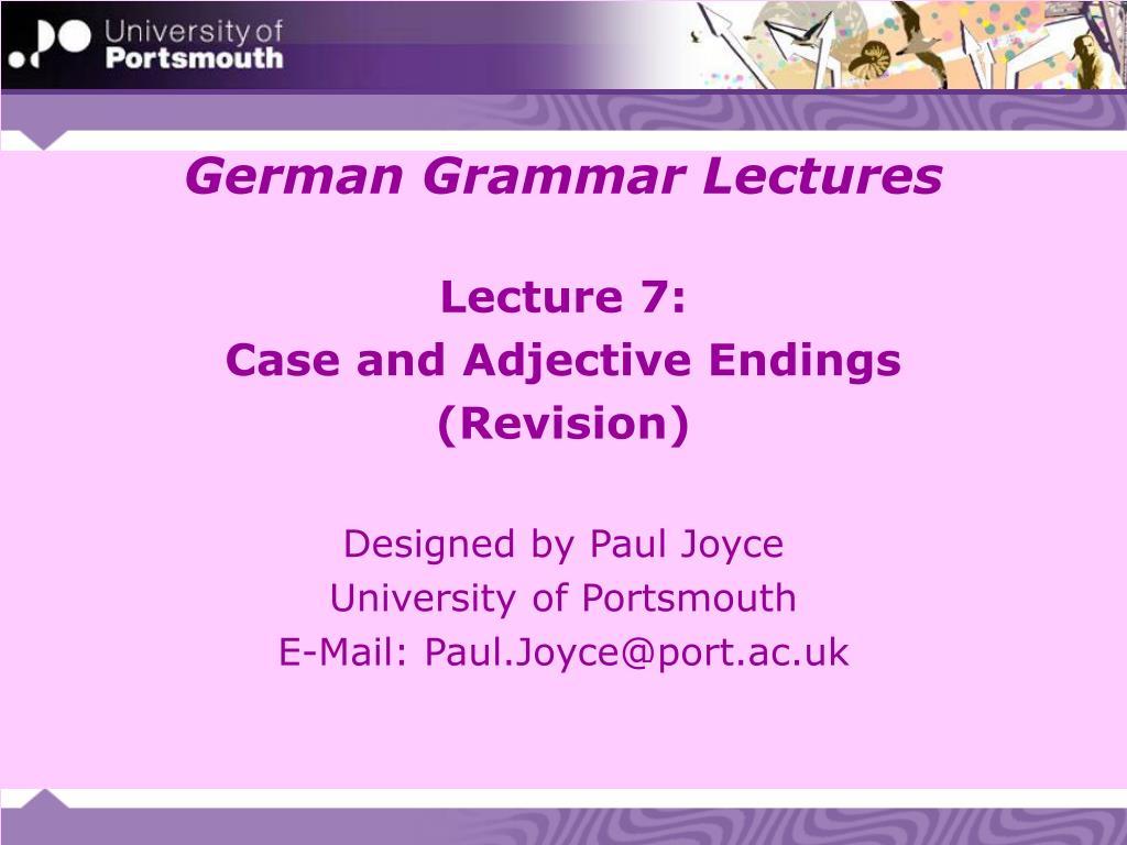 german grammar lectures l.