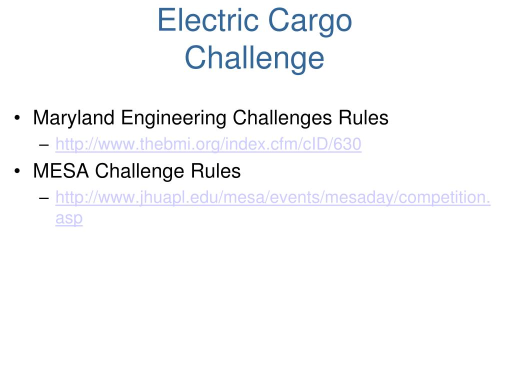 Electric Cargo Challenge