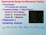 experimental design for microarray testing