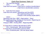 cash flow summary table 2 5