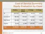 cost of service summary equity evaluation by class