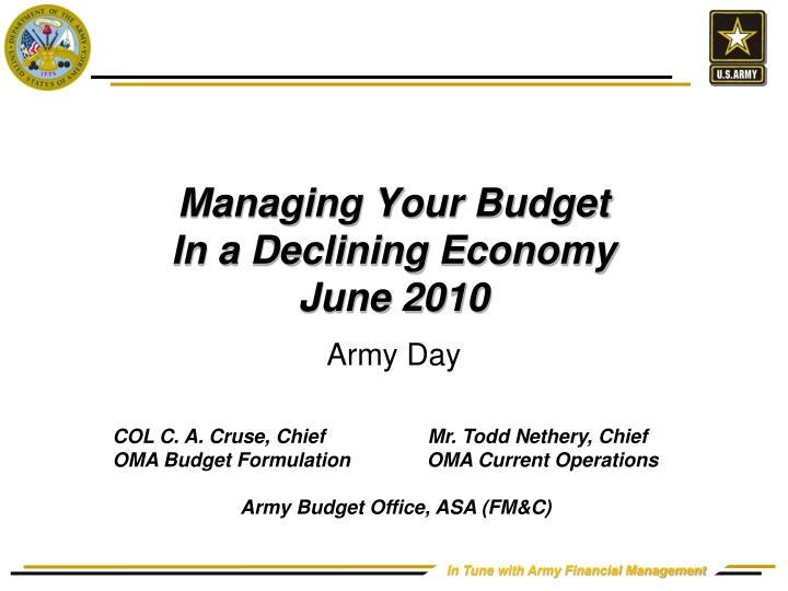 Managing your budget in a declining economy june 2010