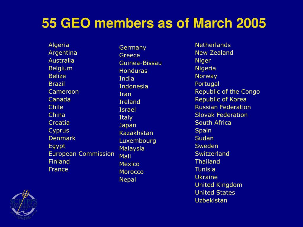 55 GEO members as of March 2005