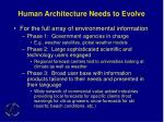 human architecture needs to evolve