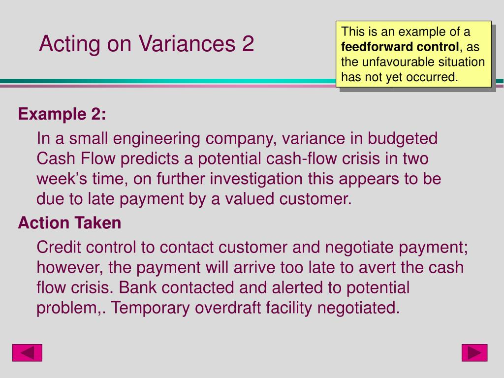 Acting on Variances 2