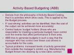 activity based budgeting abb